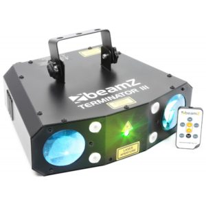 Beamz LED TERMINATOR III 2XMOON, LASER R/G, 4XSTROBE, IRC